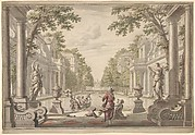 View of a Palace Garden with a Central Pond Surrounded by Classical Architecture (Tapestry or Stage Design?)