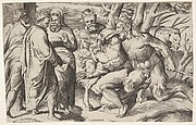 Two satyrs leading Silenus to King Midas, who stands at left with two male attendants, a mule trails behind the satyrs