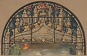 Design for the Arched Top of a Stained Glass Window Decorated with Gothic Ornament