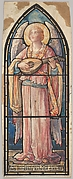 Angel Playing a Lute: Design for a Stained Glass Window