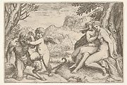 Love Conquers All (Omnia vincit Amor), in a struggle with a satyr Amor places his right knee on its thigh, two nude nymphs are seated with interlocking legs at the base of a tree