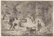 Tobit ordering the burial of the dead, a man drags a corpse near a grave as another man stoops before the grave, surrounded a seated dog and male and female figures