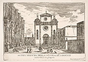 Plate 38: View of the facade of the church of St. Roch and at left the facade of the School of St. Roch, Venice, 1703, from the series 'The buildings and views of Venice' (Le fabriche e vedute di Venezia)