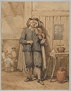 A Fiddler in a Tavern, with Three Men in the Background