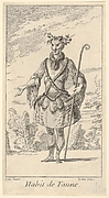 Habit de Faune: a faun wearing a tonnelet with a flute attached, a cane in his right hand and vines around his horns, from 'New designs for costumes' (Nouveaux desseins d'habillements à l'usage des balets operas et comedies)