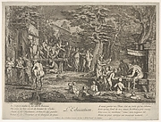 The Education (L'Education): in a forest, to right an old satyr instructor holding a wand, teaching a group of children, to the left a merchant of orvietan trying to attract spectators with his act, from 'The lives of satyrs' (La vie des satyres)