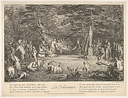 The Birth (La Naissance): in a forest, the new mother resting in a hammock at center, the newborn below her to left, various satyrs and goats surrounding, from 'The lives of satyrs' (La vie des satyres)