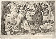 Hercules and Cerberus: Hercules grasps the collar of Cerberus, two demons appear at left, from the series 'The Labors of Hercules'