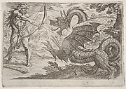 Hercules and the Serpent Ladon: Hercules draws his bow, the rearing serpent appears in profile, from the series 'The Labors of Hercules'