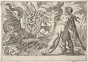 Hercules and the Hydra of Lerna: Hercules grasps his club with both hands and confronts the seven-headed hydra, from the series 'The Labors of Hercules'