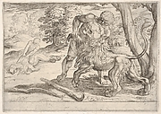 Hercules and the Nemean Lion: Hercules grasps the front right leg of the lion, which lifts its snout upward, in the middle ground Hercules pulls the skin from the lion's corpse, from the series 'The Labors of Hercules'