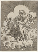 St. Matthew, seated on a cloud and dipping a quill into an inkwell held by an angel, who is also holding a scroll, from a series of the four evangelists after Giulio Romano