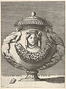 Design for an Urn with male figures terminating in rinceaux below the torso, between the male figures are a garland swag and a human head with closed eyes, from a series of vases composed after the antique
