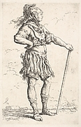 Standing warrior with plumed helmet, his right hand placed on his hip and his left hand grasping a staff, from the series 'Figurine'