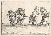 Callot figures; an old dwarf woman dancing with a young dwarf man to left, an old dwarf man touching the shoulder of a young, smiling dwarf woman, from 'Six grotesques' (Six pièces de figures grotesques)