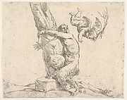 A winged cupid flogging a satyr tied to a tree