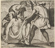 Entombment of Christ, two men lifting Christ into a tomb, with a shroud underneath the body, three crosses on Golgotha beyond, from a series of five engravings after the destroyed or detached frescoes of 1532/33 by Giovanni Antonio da Pordenone in the cloister of S.Stefano, Venice