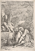 Dream of Aeneas: dressed in military garb, Aeneas rests his head on his hands atop his shield, the river god Tiber leans on a vessel and points upward with his raised left hand