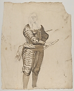 Study of a Standing Commander Holding a Staff; verso: Study of the Descent from the Cross