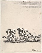 Two men skinning a horse that is lying on the ground with its hooves in the air, from 'Various cavalry exercises' (Diverses exercices de cavalerie)
