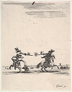 Two horsemen dueling with pistols, one seen from behind riding towards the left, one riding towards right, from 'Various cavalry exercises' (Diverses exercices de cavalerie)