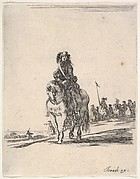 A horseman, facing front, a group of horsemen in background to the right, from 'Various cavalry exercises' (Diverses exercices de cavalerie)