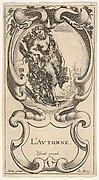 Autumn, a satyr with his right arm on top of a tree trunk on which a vine is growing and carrying grapes in his left hand, within a cartouche decorated with grapes, from 'The four Seasons' (Les quatre Saisons)