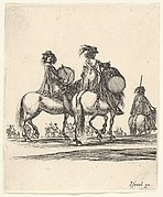 Two muskateers with drums on horseback following a procession to the right, from 'Various cavalry exercises' (Diverses exercices de cavalerie)
