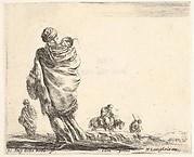 Plate 21: a poor woman to left, seen from behind, enveloping her child in a shawl, another woman seen from behind to left in background, a woman atop a horse and a man to right in background, from 'Diversi capricci'