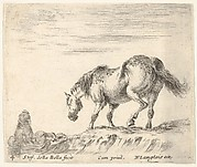 A horse in profile facing the left, about to descend from a mound, a horseman to left in background, from 'Diversi capricci'