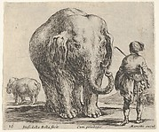 Plate 16: an elephant in center, his mahout standing to the right wearing an Oriental costume, another elephant to left in background, from 'Diversi capricci'