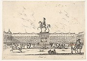Plate 3: La Place Royale, equestrian statue of Louis XIII in profile facing the left in center, various horsemen and figures in background, from 'Various Figures' (Agréable diversité de figures)