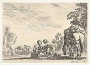 Plate 6: two women, one nursing a child, seated next to a dog and a horse carrying a pack, horses and figures to left in the background, from 'Various Figures' (Agréable diversité de figures)
