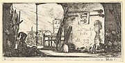 Plate 2: a soldier seated to left beneath an archway, another lying on the ground to right alongside military equipment, from 'Troops, cannons, and attacks on towns' (Dessins de quelques conduites de troupes, canons, et ataques de villes)