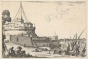 The Castel Sant'Angelo and the Pont Sant'Angelo in Rome, various boats unloading to right, two pilgrims with children seated to left, from 'Varie figure'
