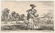 A peasant woman, standing in center facing right, carrying one basket on her head and another in her right arm, another peasant woman on a donkey and a figure on foot to left in the background, from 'Various figures and lands' (Diverse figure e paesi)