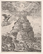 Rock of the Philosphers, or Mount Parnassus, many ancient philosophers gathered in groups at the base of the mountain in the foreground, Diogenes in his barrel to right and Archimedes in center studying an armillary sphere in the middleground, an angel in the sky to left, the mountain in the background, a large cloud at the top of the mountain with the assembly of the gods