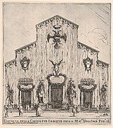Façade of the church of San Lorenzo in Florence, decorated with the emperor's arms, four figures of death flanking the three entrances, the two in center on horseback, a large angel above central door, from 'Ceremonies for the Funeral of Emperor Ferdinand II' (Funérailles de l'empereur Ferdinand II)