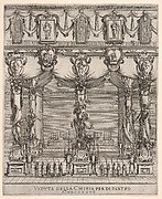 Interior of the church of San Lorenzo in Florence, five pillars, each with a large figure of death on a pedestal, ten hooded figures with staffs in foreground, two altars in the background, cartouches containing female figures above, from 'Ceremonies for the Funeral of Emperor Ferdinand II' (Funérailles de l'empereur Ferdinand II)
