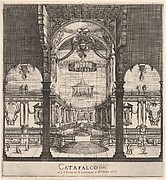The tomb of Ferdinand II at center in the background within the choir of the church, three arches in center foreground, Austrian coat of arms hung in center arch, from 'Ceremonies for the Funeral of Emperor Ferdinand II' (Funérailles de l'empereur Ferdinand II)