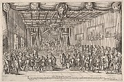Banquet of the Piacevoli, various men are seated at long tables around the perimeter of a large room, a man seated to the right giving a dog table scraps, curtains are draped around the image, Medici coat of arms at top center