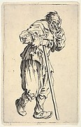 Bearded man, dressed in rags, holding his head with one hand and a walking stick with the other, from the series 'The beggars' (Les gueux)