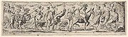 Procession of draped women leading captives and animals, at left Envy rides a lion, at right Silenus rides a donkey, from a series of twelve frieze-like designs showing bacchanals, sacrifices, and dances