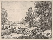 Shepherd and shepherdess conversing in a landscape, with a bridge in the background