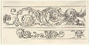 Plate 7: two friezes; at top, an eagle and the head of a lion, at bottom, a lion head and two grotesque heads of men, from 'Friezes, foliage, and grotesques' (Frises, feuillages et grotesques)