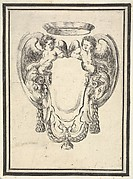 Plate 12: a cartouche flanked by two winged infant satyrs riding on the heads of two rams, from 'Nouvelles inventions de Cartouches'
