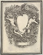 Plate 5: a cartouche flanked by Apollo and Pan, from 'Nouvelles inventions de Cartouches'