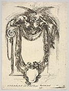 Plate 10: a cartouche formed by drapery and topped with two skeletons atop an Ionic entablature, from 'Nouvelles inventions de Cartouches'