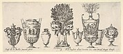 Eight vases, a clepsydra in center decorated with two skulls with laurel wreaths, plate 6 from 'Collection of Various Vases' (Raccolta di Vasi Diversi)