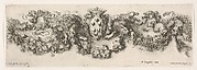Plate 2: Design for a Frieze with Felines holding up a Garland and the Medici Coat of Arms in the Center, Plate 2 from: 'Decorative friezes and foliage' (Ornamenti di fregi e fogliami)